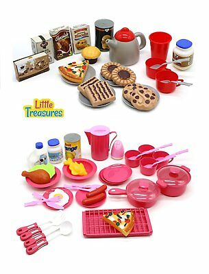 Kids Kitchen Playset Toy Pretend Play Set Cooking Lunch Food Mini For Girls Gift