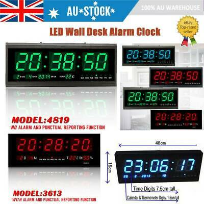 3 Color Digital Large Jumbo LED Wall Desk Alarm Clock With Calendar Temperature