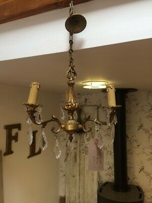 Antique French Brass Glass 3 Arm Chandelier