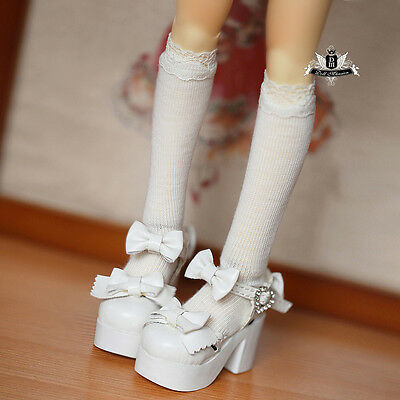 1/3 BJD Shoes SD Dollfie bow white High heels shoes DOD AOD LUTS SOOM DZ AF gift