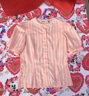 vintage HUK.A.POO women's pink stripe puffy sleeves Blouse size 7 lace collar