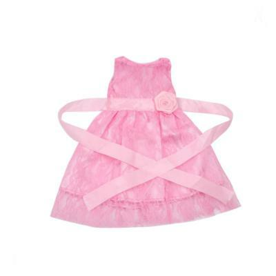 Adorable Pink Sleeveless Lace Dress Waistband for 18'' American Girl Dolls