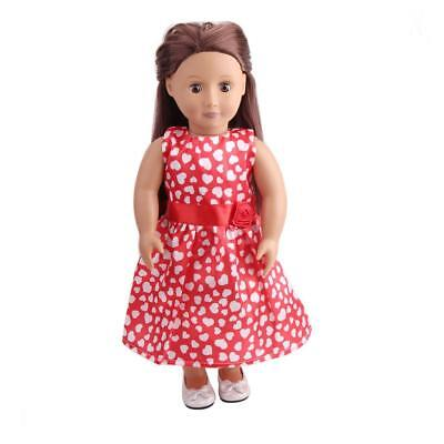 Trendy Doll Party Sleeveless Heart Pattern Dress for 18'' American Girl Doll