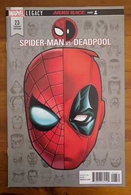 Spiderman vs Deadpool #23 1:10 Headshot Variant NM