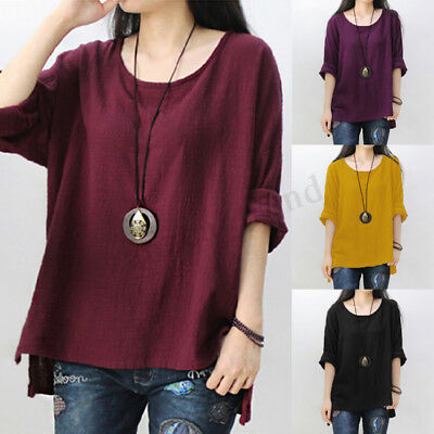 UK STOCK Womens Round Neck Vintage Long Sleeve Tops Tee Baggy Shirts Blouse Plus