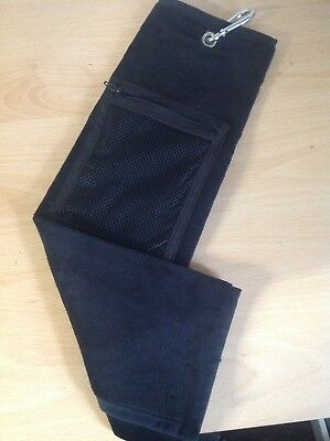 Black Velour Tri-Fold Golf Towel with Zip Pocket
