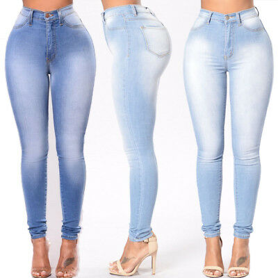 Women's High Waist Skinny Pencil Pants Ripped Jeans Slim Stretch Trousers S-3XL