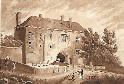 St Albans Abbey Gate House original sepia drawing c. 1820