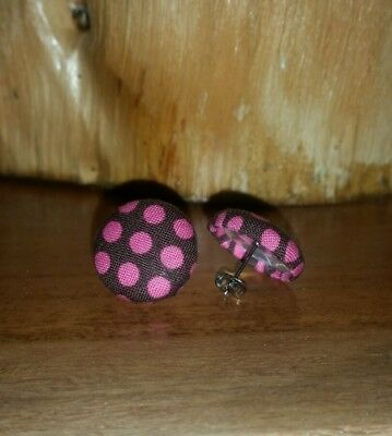 1 pair Fabric Covered Button 19mm Stud Stainless Steel Earrings