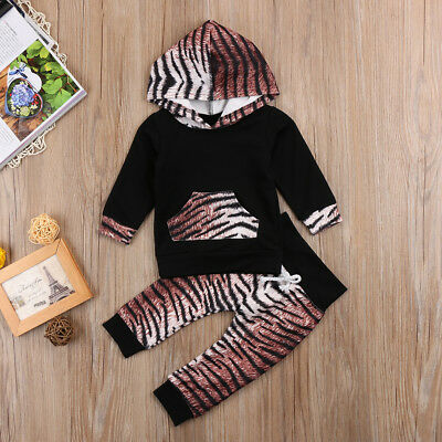 Baby Girls Boys Leopard Hoodie Tops + Pants Winter Autumn Outfits Set Tracksuit