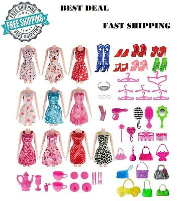 Doll Clothes Lot Party Gown Outfits Accessories Barbie Girl Xmas Gift 120 pc New