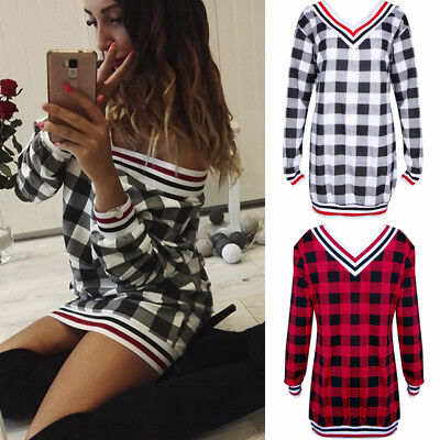 Womens Long Sleeve V Neck Plaid Checked Casual Loose T-shirt Blouse Mini Skirts