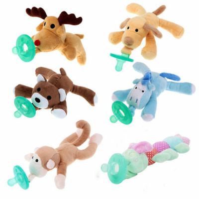 Newborn Baby Infant Dummy Pacifier Clip Animal Toy Plush Soother Nipples Holder