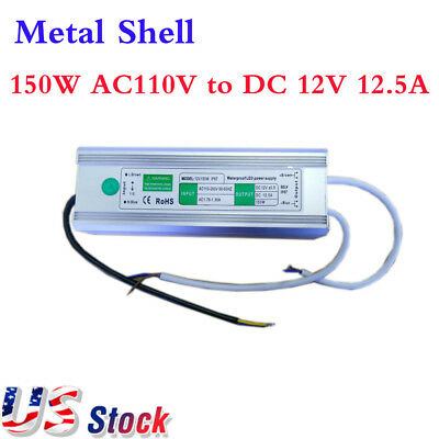 150W AC110V to DC 12V 12.5A Waterproof Metal LED Power Supply Transformer Driver