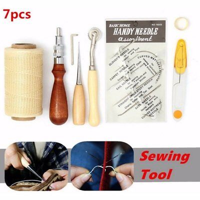 7pcs/Kit leather Craft Sewing Hand Stitching Sewing Tool Thread Awl Waxed DE HOT