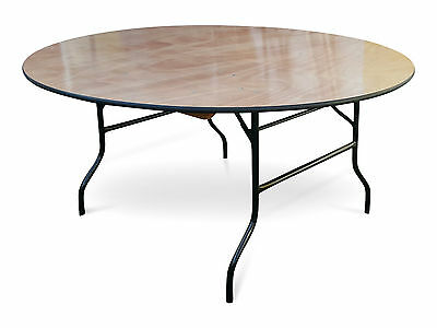 6ft Round Wooden Banqueting Table. Folding Wishbone American Legs Plywood 183cm
