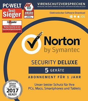 Norton ( Internet ) Security Deluxe 2017 - 5 PC /Mac /Android für 1 Jahr - Key