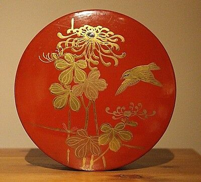 Round Red Lacquered box & Lid with bird / flowers ( Gift ) Gold guilt.