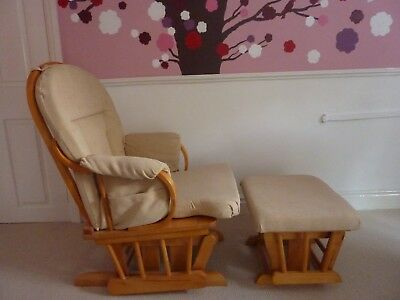 Nursing, rocking chair and matching stool, cream colour, excellent condition