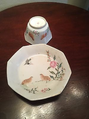 Chinese wine bowl or tea bowl with birds