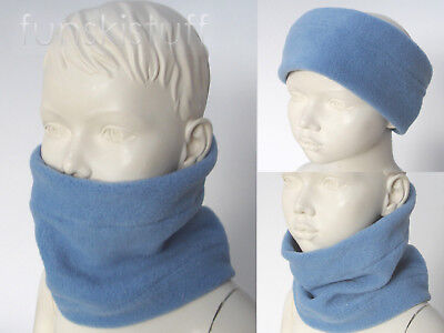 Infant boys girls slate BLUE NECK WARMER fleece scarf snood ski nursery toddler