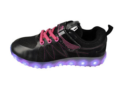 FREE SHIP! LED Light Up Shoes  Girl Youth USB Lot 12Prs $10.99/Pr-LG005BKFCH-C