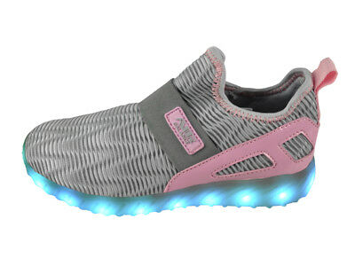 FREE SHIP! LED Light Up Shoes Girl Youth USB Lot 12Prs $10.99/Pr-LG011LGRYPNK-C