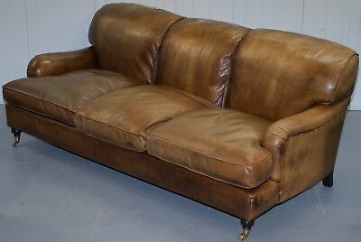 Rrp £2895 Leather Chairs Of Bath Lansdown Brown Leather Howard Sofa Feather Seat