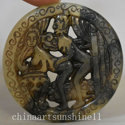Exquisite China Old Jade Handmade Carved Belle Statue Pendant