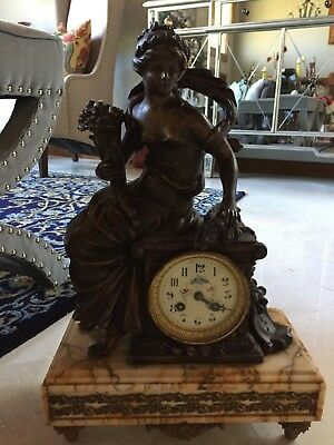 Antique F Moreau French Bronze & Marble Mantle Clock Entitled Agriculture