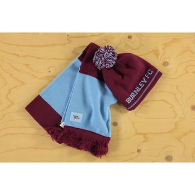 YOUNG CLARETS BURNLEY FC football YOUTH BOBBLE HAT SCARF SET NEW