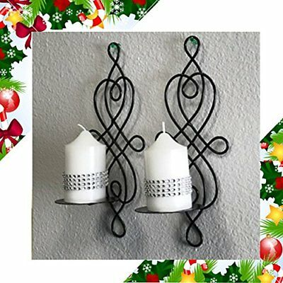 Home Decor Pair of Swirling Wrought Iron Hanging Wall Art Candle-holder Modern