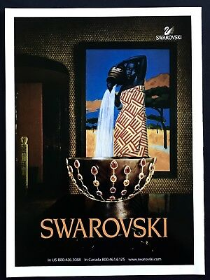 2004 Vintage Print Ad SWAROVSKI Jewelry Style African Art Image Water Bowl