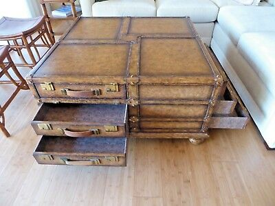 Beautiful Maitland Smith Campaign Leather Trunk Coffee Table - FINAL LISTING