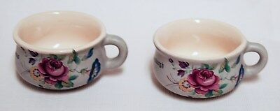 Lot of 2 Porcelain Minature Chamber Pots St. Thomas Critket Franserburgh Floral