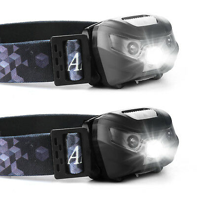 USB Recharge Sensor Headlight Waterproof LED Head Lamp Hiking Flashlight Battery