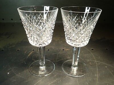 Set of 2 Waterford Alana Crystal Claret Clear Wine Glasses, Unused, Excellent