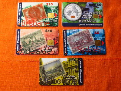 5x Telstra Phonecards, ANDA FAIR, Capital Cities, Limited Editions, New Unused