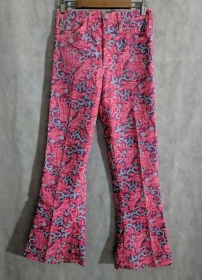Lilly Pulitzer Vintage 60s Mens Stuff Psychedelic Animals Pink Flare Pants 28x30