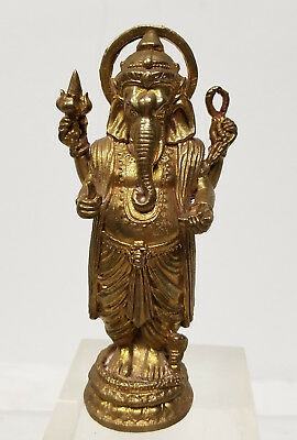 Antique Vintage Sand Cast Brass Bronze Gilt Ganesha Standing Figure