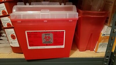 LOT OF 6!!! **DEAL!!** Bemis Biohazard Sharps Needle Container 5 Quart 175030