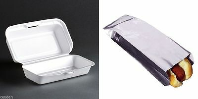 (25) Hot Dogs Foil Bags + (25) Hot Dogs Foam Container Hinged Lid - Paper Wrappe