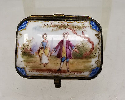 Antique Meissen Porcelain Bronze Mounted Jewelry Pill Snuff Box Painted