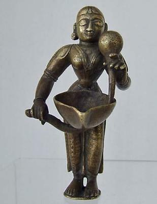 Antique Indian Bronze Hindu Goddess Lakshmi Oil Lamp 16th - 18th Century