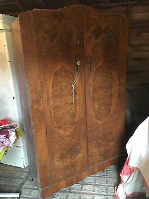 Antique Solid Wood Brown Wardrobe Double Doors Inside Mirror