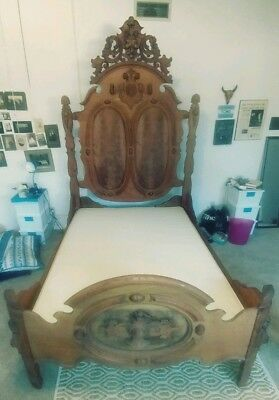 Antique Mid 19th Century Victoria High Back Bed & Warddrobe Armoire - Ornate