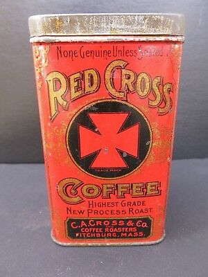 Vintage Red Cross Coffee Tin- C.a. Cross & Co. Fitchburg,mass