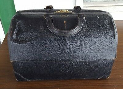 Vintage/Antique Schell Emdee Black Leather Medical Doctor/Physician Bag EXC!