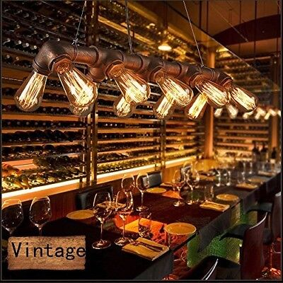 Industrial Style Iron Pipe Ceiling Lighting Fixture Vintage Light Kitchen Dining