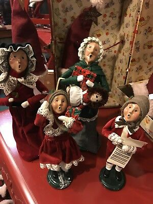 Byers' Choice Ltd THE CAROLERS Lot Of 4 Christmas Figures 1996 Family